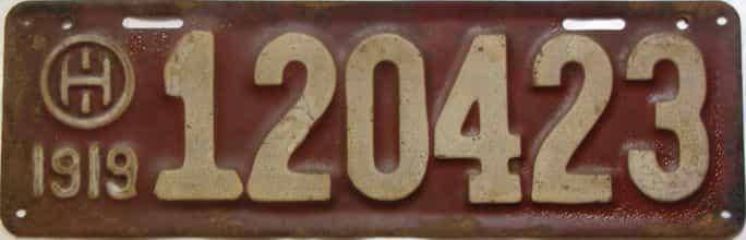 1919 Ohio  (Single) license plate for sale