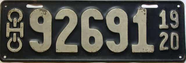 1920 Ohio  (Single) license plate for sale