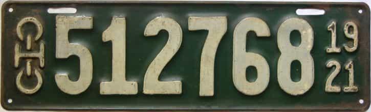 1921 Ohio  (Single) license plate for sale