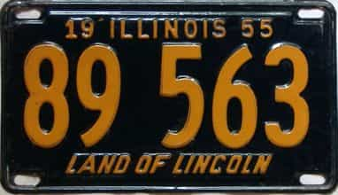 1955 Illinois  (Single) license plate for sale