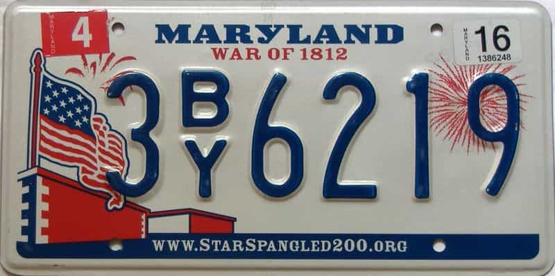 2016 Maryland  (Single) license plate for sale