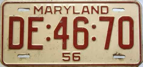 1956 Maryland  (Single) license plate for sale