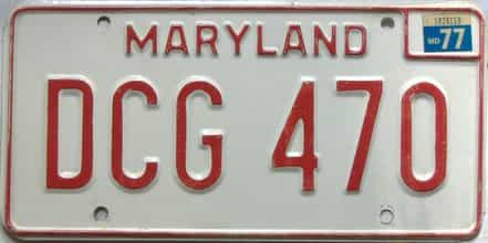 1977 Maryland  (Single) license plate for sale