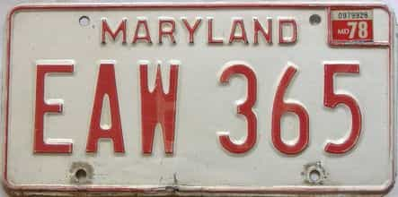 1978 Maryland  (Single) license plate for sale