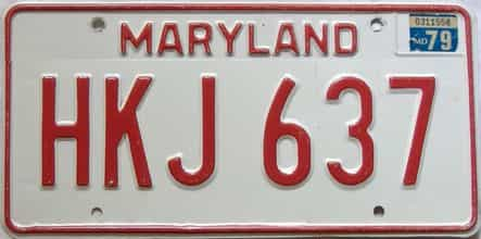 1979 Maryland  (Single) license plate for sale