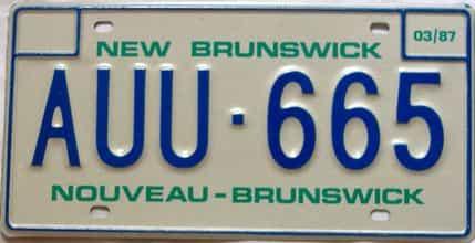 1987 New Brunswick  (Single) license plate for sale