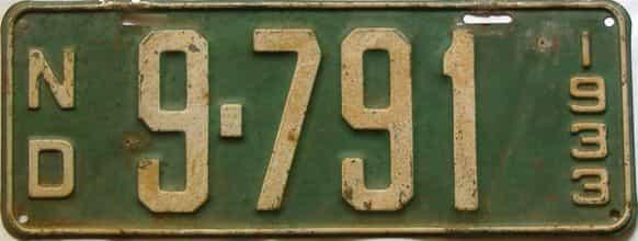 1933 North Dakota  (Single) license plate for sale
