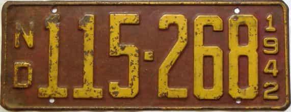 1942 North Dakota license plate for sale