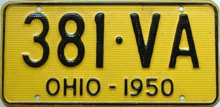 1950 Ohio  (Single) license plate for sale