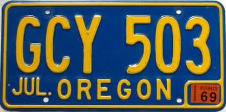1969 Oregon  (Single) license plate for sale