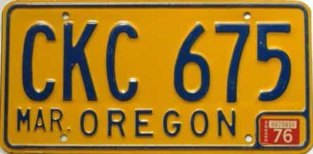 1976 Oregon  (Single) license plate for sale