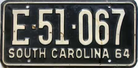 1964 South Carolina  (Single) license plate for sale