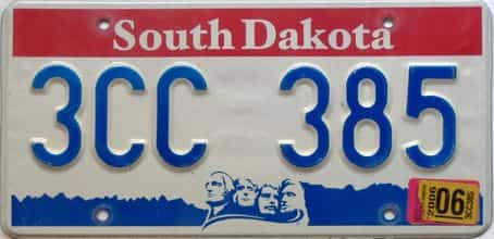 2006 South Dakota  (Single) license plate for sale