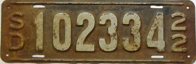 1922 South Dakota  (Single) license plate for sale