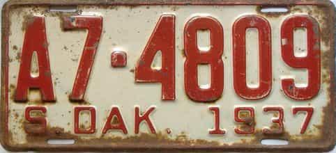 1937 South Dakota  (Single) license plate for sale