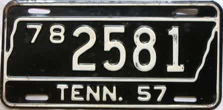 1957 Tennessee  (Single) license plate for sale