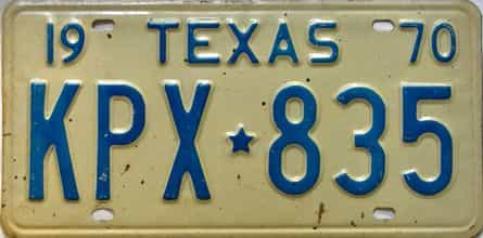 1970 Texas  (Single) license plate for sale
