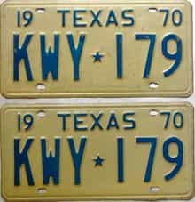 1970 Texas  (Pair) license plate for sale