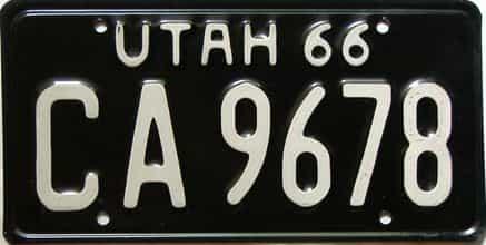 1966 Utah  (Single) license plate for sale