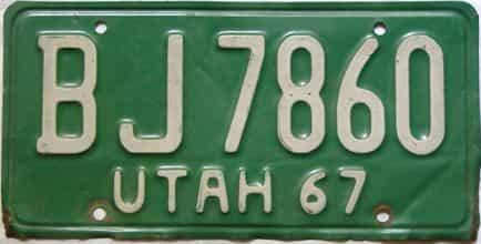 1967 Utah  (Single) license plate for sale