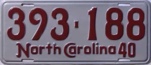 RESTORED 1940 North Carolina  (Single) license plate for sale