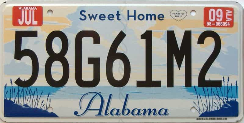 2009 Alabama license plate for sale