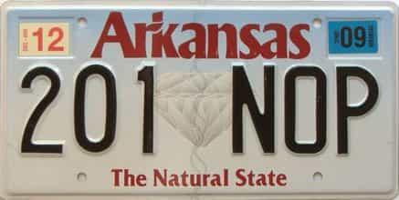 2009 Arkansas license plate for sale