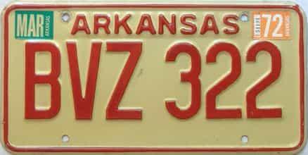 1972 Arkansas license plate for sale