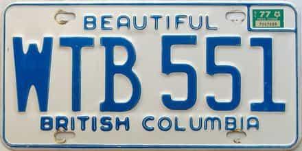 1977 British Columbia  (Single) license plate for sale