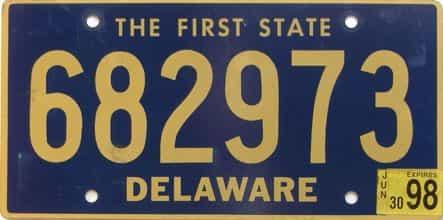 1998 Delaware license plate for sale