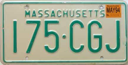 1994 Massachusetts license plate for sale