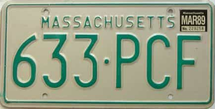 1999 Massachusetts license plate for sale