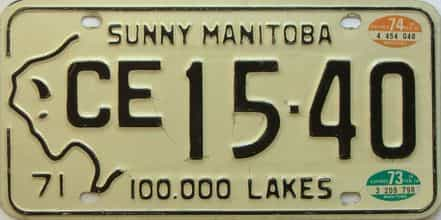 1974 Manitoba  (Single) license plate for sale
