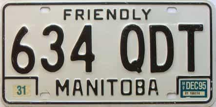 1995 Manitoba  (Single) license plate for sale