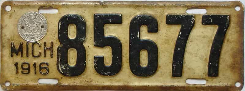 1916 Michigan  (Single) license plate for sale
