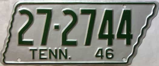 1946 Tennessee  (Very Nice Older Repaint) license plate for sale
