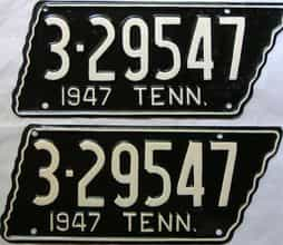 1947 Tennessee  (Very Nice Older Repaint) license plate for sale