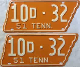 1951 Tennessee  (Pair) license plate for sale
