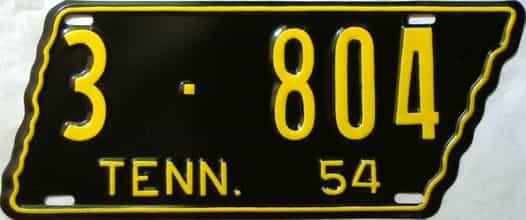 1954 Tennessee  (Older Restoration) license plate for sale