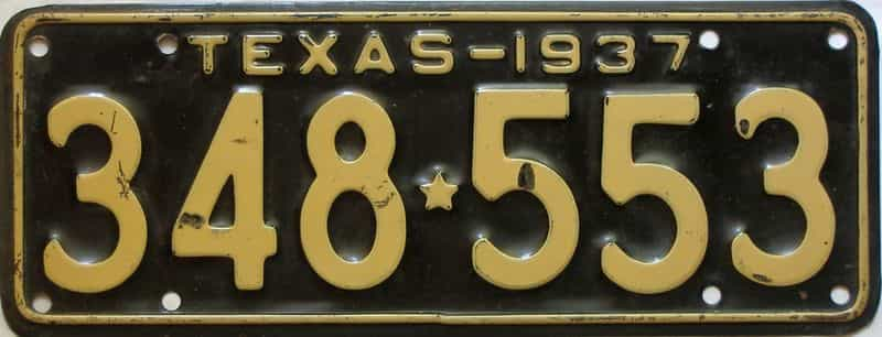 1937 Texas  (Single) license plate for sale