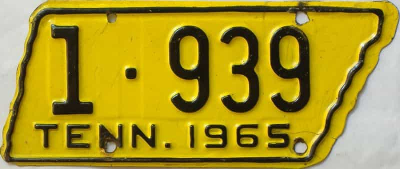 1965 Tennessee  (Motorcycle) license plate for sale