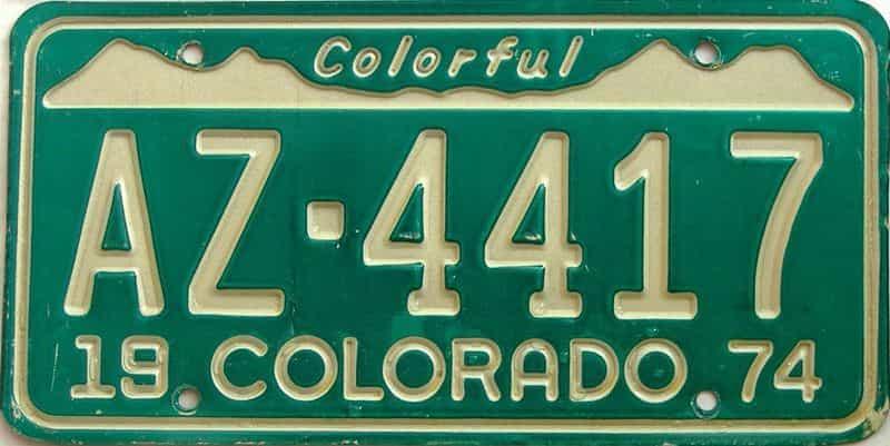 1974 Colorado  (Single) license plate for sale