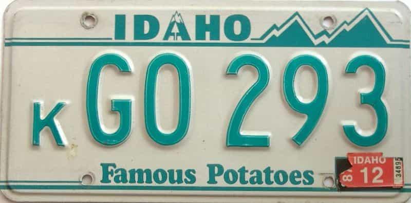 1987 Idaho  (Single) license plate for sale