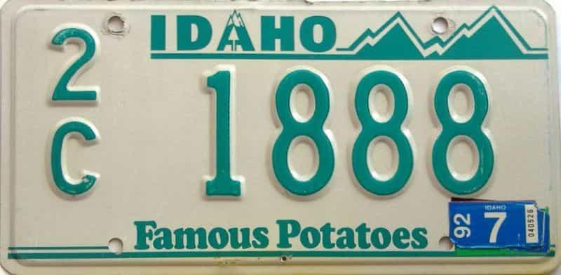 1992 Idaho  (Single) license plate for sale