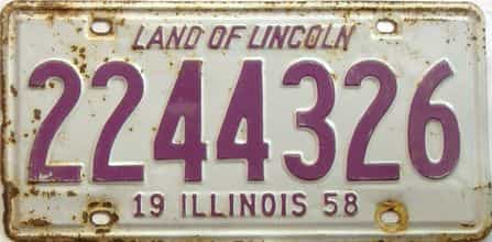 1958 Illinois  (Single) license plate for sale