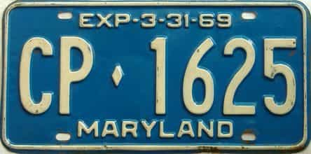 1969 Maryland  (Single) license plate for sale