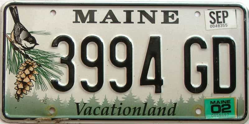 2002 Maine  (Single) license plate for sale