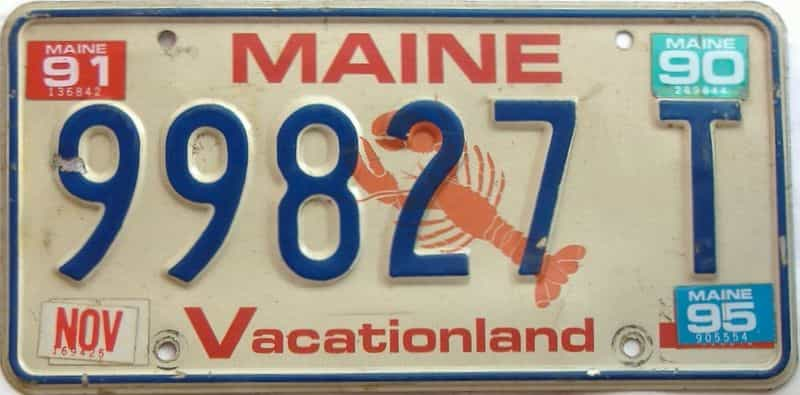 1995 Maine  (Single) license plate for sale