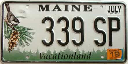 2019 Maine  (Single) license plate for sale