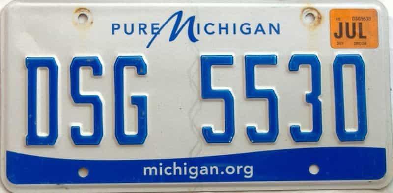 2019 Michigan license plate for sale